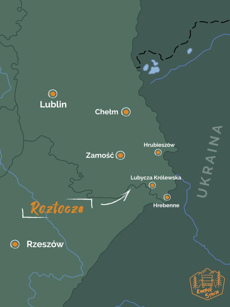 Mapa Roztocza i wschodniej granicy Polski
